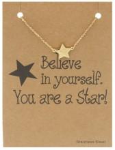 E-A7.4  B015-008 Stainless Steel Bracelet Star Gold