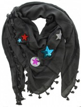 T-E4.1 S002-004 Grey Scarf with Patches-Stars-Tassels 140x140cm