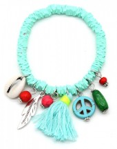 D-C15.1 B302-006 Elastic Surf Bracelet with Beads and Tassel Light Blue