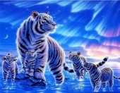 R-E6.2 S385 Diamond Painting Set Tiger with Cubs 50x40cm Round
