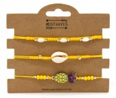 C-B16.2 B221-003 Bracelet Set 3pcs Pineapple and Shell Yellow