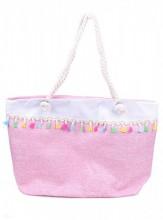 Y-F6.1 BAG217-022 Beach Bag with Tassels Pink