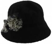 K-A4.1 Woolen Hat with Fake Fur Pompons Black