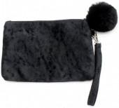 BAG1202-035 Velvet Clutch with Fake Fur Pompon Black