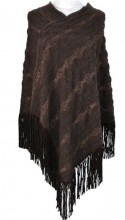 R-B10.1 Luxury Poncho with Glitters and Suedine Fringes Brown