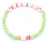 C-B17.2 B1561-031 Elastic Bracelet Glass HAPPY Green
