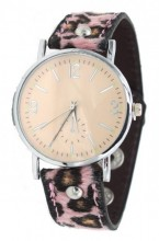 E-C5.7 W1202-002 PU Watch with Panter Print Pink
