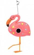 Metal Pink Flamingo Bird House 32.5cm