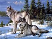 X197 Diamond Painting Set Wolves 40x30cm