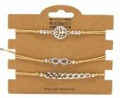 F-A8.2  B316-045 Bracelet Set 3pcs Tree of Life - Infinity - Chain Brown