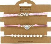 E-B7.2 B2001-056B Bracelet Set 3pcs Love-Heart-Pearls Pink