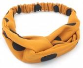S-B7.5 H034-008 Headband with Dots Ocher Yellow - Black