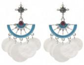 E-C19.3 E1631-015B Earrings with Shells 5x2.5cm Silver