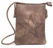 Q-O8.2 BAG012-005 PU Crossbody Bag with Studded Star 20x15cm Brown