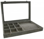 Y-F3.2 Jewelry Display with 9 Cabinets Grey Velvet 35x24x5cm