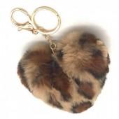 X-L6.2  KY414-001F Fluffy Keychain 10cm Heart Leopard Brown