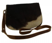 S-A5.2 Brown Leather Cross Body Bag with Mixed color Cow Hide - Every Bag is Unique 27x20x10cm