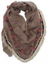 S005-001A Ibiza-Boho Scarf with Tassels and Fringes 140x140cm