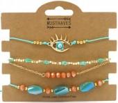 E-E16.1 B538-035 Bracelet Set 4pcs Eye Gold-Blue