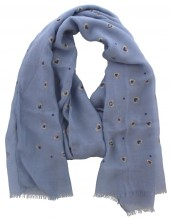 X-B4.2 S004-015 Scarf with Dots - Hearts and Golden Glitters 180x70cm Blue