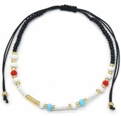 A-E17.5 B2039-013E Bracelet with Glass Beads White-Red-Blue-Gold
