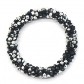A-E22.2 B008-001C Bracelet with Faceted Glass Beads Black-Silver
