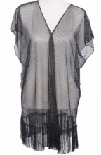 S-E4.2 Beach Poncho Black with Glitters and Fringes