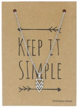 N1759-006 Stainless Steel Necklace Triangles Silver