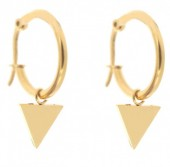 E015-012B Stainless Steel Earrings 16mm with Triangle Gold
