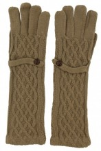 S-C7.5 TR-8615 Long Gloves with Button Brown