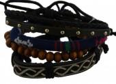 D-E5.6 E032-001 Unisex Bracelet Set Rope-Wood-Leather