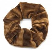 S-C6.3  H305-022F Rib Fabric Shiny Scrunchie Brown