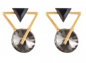 C-C18.1  E019-010 Geometric Crystal Earrings Gold Grey 1.5x2cm