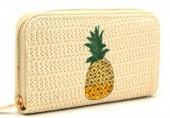 R-N2.2  WA319-002 Woven Wallet with Pineapple 19x10cm Beige
