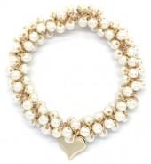 E-E15.2  H2039-001E Hair Elastic with Glass Pearls WhiteE-E15.2  H2039-001E Hair Elastic with Glass Pearls White