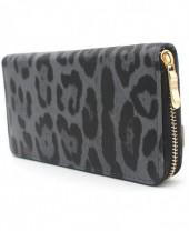 WA011-001 Wallet with Leopard Print 19x10cm Grey