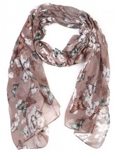 X-I8.1 S107-006 X-D3.1 S107-002 Scarf with Butterflies 85x180cm Brown