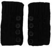 L-D8.1 Knitted Hand Wamers with Buttons Black
