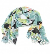 X-B9.1 S206-001 Scarf with Pompon Jungle-Toucan 180x80cm