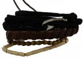 C-A17.5  E032-008 Unisex Bracelet Set Rope-Wood-Leather
