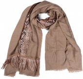 L-B3.2 SCARF409-005 Exclusive Scarf with Fringes and Imitation Snake Hide 180x70cm