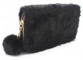 Q-H2.2 WA117-005 Soft Fake Fur Wallet with Pompon 19x10cm Black