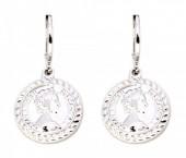 E-D5.2 E304-017 Metal Earrings with Coin Queen Elizabeth Silver