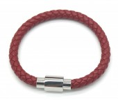 A-E14.1 B1643-001 S. Steel with Leather Bracelet 19cm Red