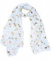 X-C3.1  S311-002 Scarf with Golden Shiny Stars and Unicorns Green
