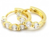 B-A9.1  E516-002 Earrings 15mm with Cubic Zirconia Gold
