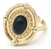 A-E6.5 R532-001G Adjustable Ring with Black Stone Gold