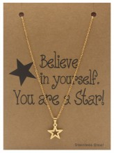 F-A21.4 N015-003 Stainless Steel Necklace Star 40-47cm Gold