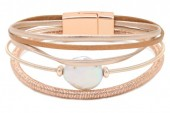 B1401-001 Leather with Metal Bracelet Rose Gold