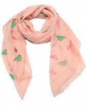 X-O6.4 S207-001 Scarf with Cacti and Flamingos 70x180cm Pink